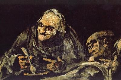 Dos viejos comiendo sopa